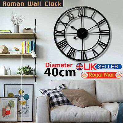 40CM Large Roman Numeral Numerals Metal Wall Clock Big Round Open Face Garden UK