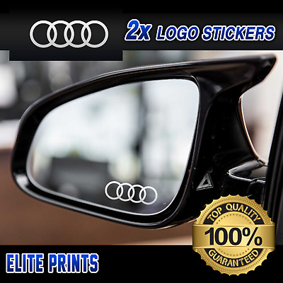 AUDI RINGS SMALL SYMBOL CAR MIRROR STICKERS GRAPHICS x2 IN SILVER ETCH VINYL