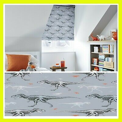 Made to measure ROLLER BLINDS - THEO GRAPHITE DINOSAUR CHILDREN