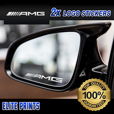 MERCEDES AMG SMALL SYMBOL DECAL MIRROR STICKERS GRAPHICS x2 IN SILVER ETCH VINYL