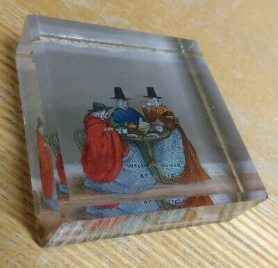 "Antique/Vintage Small Glass PAPERWEIGHT: Caption reads:, ""WELSH LADIES AT TEA"""