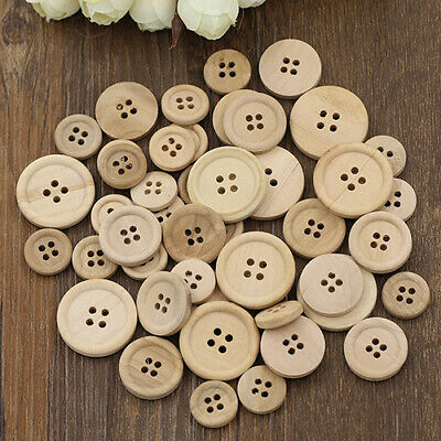 50 Pcs Mixed Wooden Buttons Natural Color Round 4-Holes Sewings Scrapbooking DIY