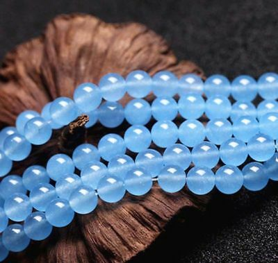 "4-12mm natural Light Blue Round Gemstone Loose Beads Strand 15""AAA"