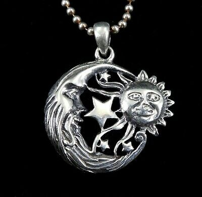 Handcrafted Solid 925 Sterling Silver CRESCENT MOON, SUN, & 7 STARS Pendant