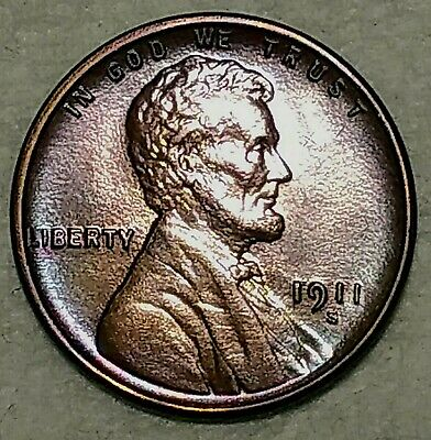Uncirculated 1911-S Lincoln Cent! Attractively toned specimen!