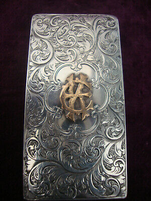 Antique solid silver with gold cartouche mechnical sprung card case Coopers pat