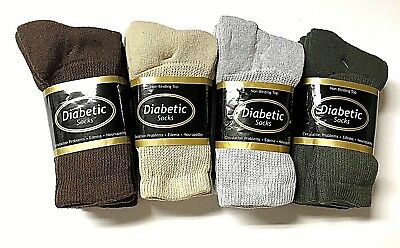 12 Pair Non-Binding Top DIABETIC Mixed Colors  Size 9-11 Crew Socks,New. USA