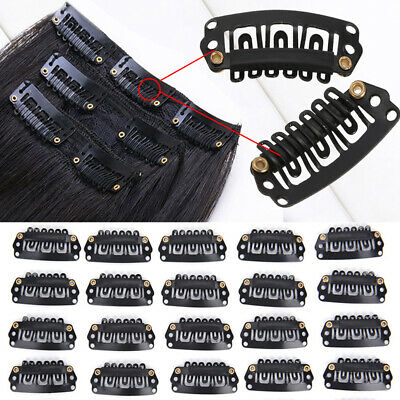 US CLEARANCE 10-100PCS Snap Clips for Human Hair Extensions Weft Grips 32mm USPS
