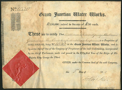Grand Junction Water Works, £50 share, 1811