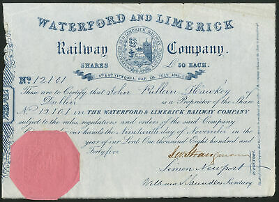 Ireland: Waterford and Limerick Railway Co., £50 share, 1845