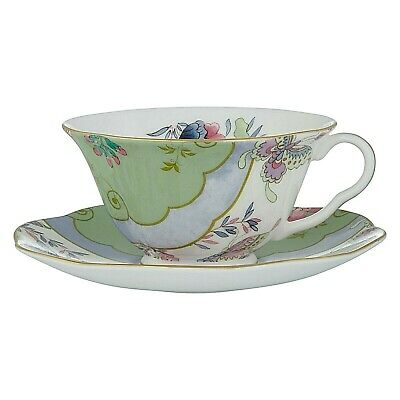 Wedgwood Butterfly Bloom Posy Teacup and Saucer Set, Green Set of 4