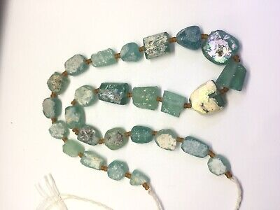 Ancient  Old Roman Glass Beads Square Mixed Size 26 pcs for Necklace