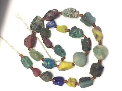 Ancient Old Roman Glass Beads Square Collect Necklace 25 pcs Mixed Size Color