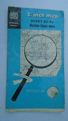 "Rare Ordnance Survey 2.5"" map ST36 Weston Super Mare 1959 Kewstoke Wick St Lawre"