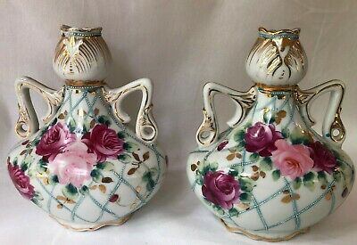 Nippon Vases Pair Two Handles Pink Roses Hand Painted Gold Accents