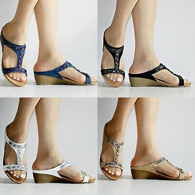 Womens Ladies Low Wedge Heel Comfort Cushioned Sole Plus Size Sandals Shoes 870