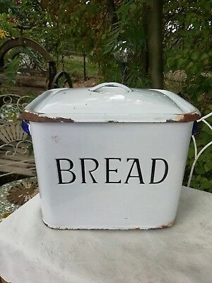Vintage 1930's Blue & White Enamel Bread Bin Retro Kitchen Storage Display
