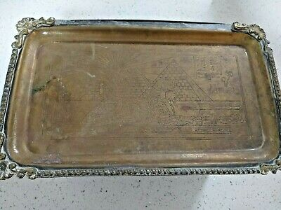 Rare amazing Antique Vintage very old brass Egyptian sphinx decorated Tray