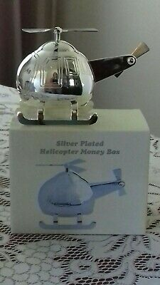 Baby/Christening Gift/Present Silver Plated Helicopter Money Box/Ornament
