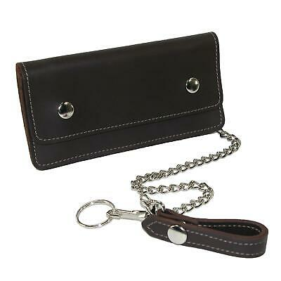 New CTM Men's Leather Large Trucker Chain Wallet