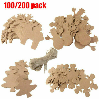 100/200 Blank Paper Kraft Gift String Tags Craft Hanging Price Tags + 20m String