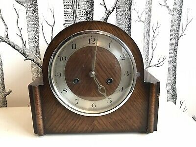 Old Wooden Mantle Clock With Key And A Few Spare Parts Inside. Working