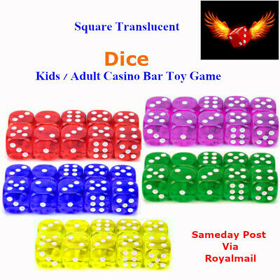 Dice 14MM Six Sided Translucent Casino Craps Kids / Adult Toy Game - UK STOCK