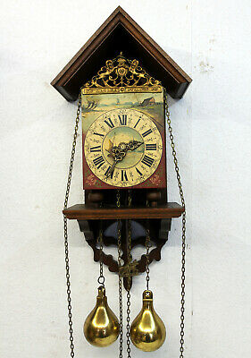 Old Particular Wall Clock Type Zaanse Dutch Antique Vintage Wall Clock 8 Day