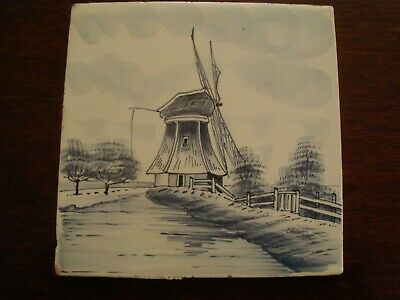 Antique Dutch Delft Tile hand painted Windmill scene   20/78
