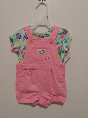 Carter/'s NWT 9M Infant Girl Shortalls Floral Tee Set $28