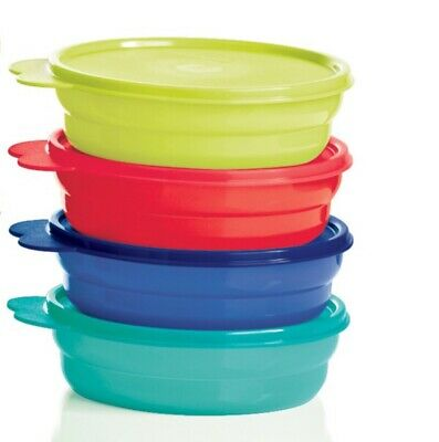 NEW Tupperware Microwave Reheatable Impressions 2 Cup Cereal Bowls Set of 4