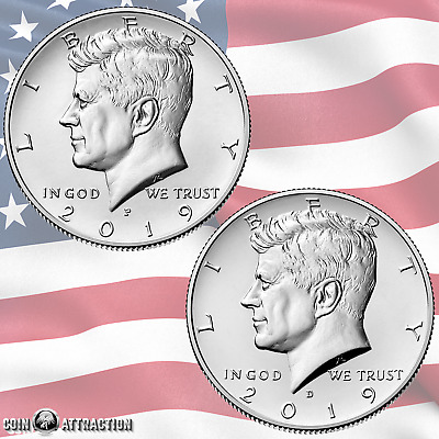 2019 P & D Kennedy Half Dollar Set 2 Coin Set From Mint Roll (Uncirculated)