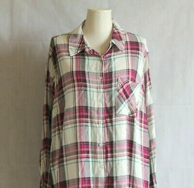 8ce6d2ba19693 Ava & Viv Womens Plus 4X Plaid Button Down Shirt Berry Red White Pocket Top