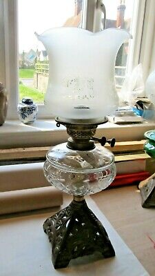 Victorian Cut Glass Oil Lamp with Etched glass shade