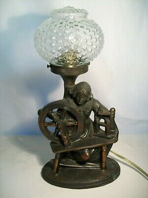 Antique Table Lamp Art Deco Cast Metal Woman with Spinning Wheel 1930's