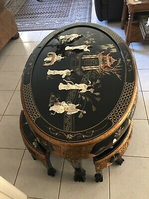 Mother of Pearl Coffee Table W/ 6 Stools
