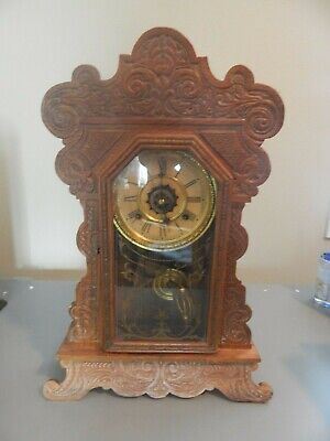 Waterbury Gingerbread Clock Antique Vintage Mantel