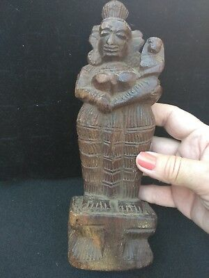"""Handcarved Altar-Doll from India,TEAK WOOD! Mother Goddess and Child! 8.5"""" tall!"""