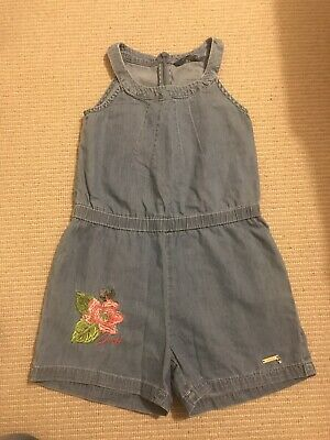 Guess Kids Denim Chambray Jumpsuit Playsuit Shorts Floral Embroidery Age 8 Years