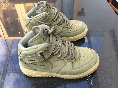 NIKE  AIR FORCE 1 - Green/Olive Mid Top Suede Trainers - UK size 1