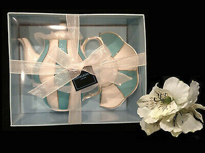 Cynthia Rowley Teaware Fine China Porcelain Blue Aqua 3 Pc Tea Pot, New, In Box!