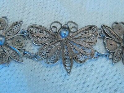 Victorian Antique Silver Filigree Wire Gilt Butterfly Flower Link Panel Bracelet