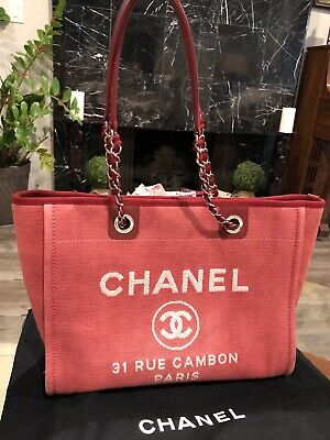 eb1e7db1d16b Authentic CHANEL Deauville Medium Chain Shoulder Canvas Leather Tote Red