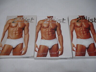""" 3 "" 2XIST LUXE Men's Contour Pouch Brief Underwear White Small 28-30 SET OF 3"