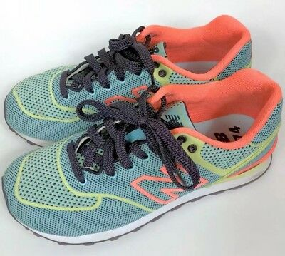 new concept 29749 38bbe WOMENS NEW BALANCE 574 6.5 Blue Sonic Ale WL574ALE Orange Yellow Bright  Sneakers