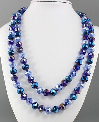 Vintage 70'S Blue Ab Aurora Borealis Crystal Glass Bead Long Necklace