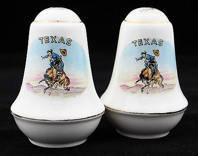 Vintage Salt Pepper Shakers 50s 60s Texas Cowboy Souvenir Set Retro Kitchenalia