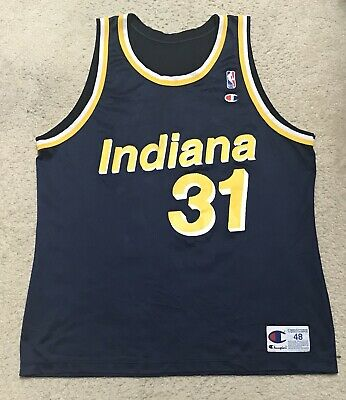 45bf75e008f5 VTG 90s Champion Indiana Pacers NBA  31 Reggie Miller Basketball Jersey Size  48