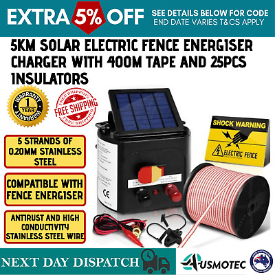 5km Solar Electric Power Fence Charger Kit Tape Insulator Sign Farm Fencing NEW
