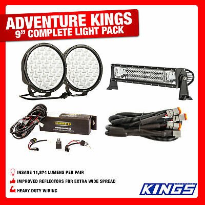 """Kings Pair of 9"""" LED Driving Lights + 22"""" Domin8r Light Bar + Wiring Harness"""
